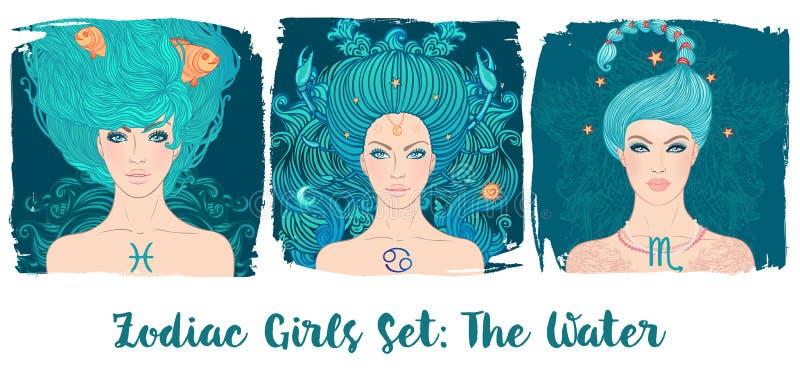 Zodiak dziewczyny ustawiać: Woda Wektorowa ilustracja Pisces, nowotwór, royalty ilustracja