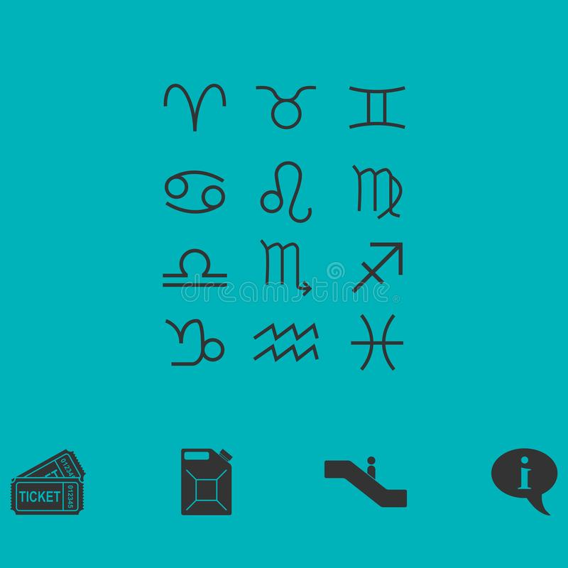 Zodiak ikony mieszkanie ilustracji