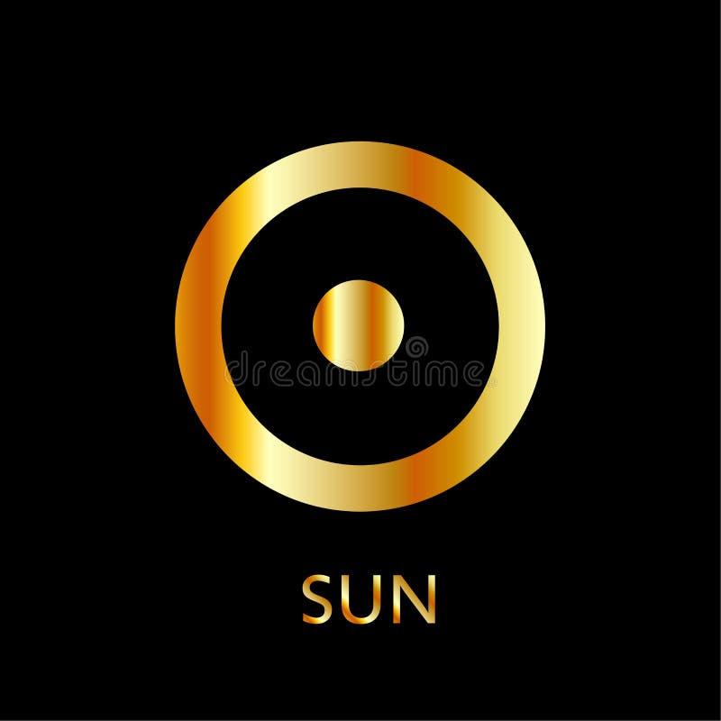 Zodiak- och astrologisymbol av planetsolen i guld- färger stock illustrationer