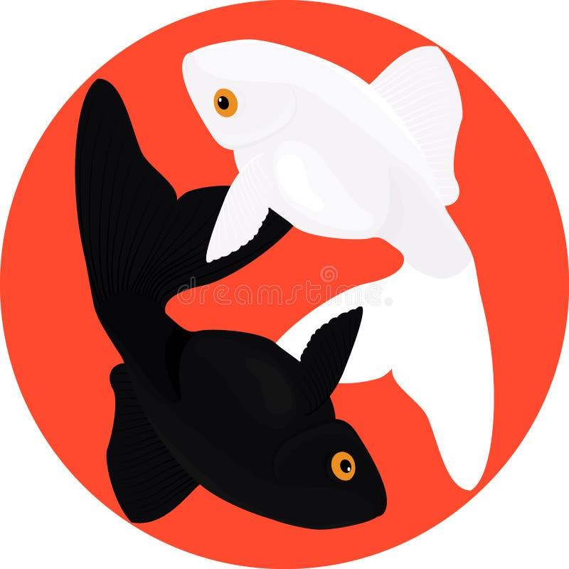 Zodiak Pisces Dwa ryba, symbol yin i Yang, ilustracji