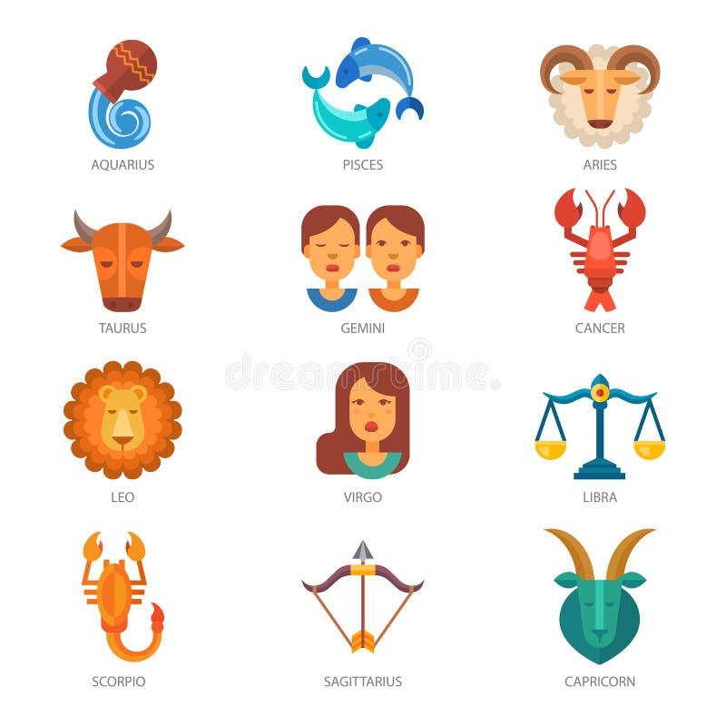 Zodiak podpisuje wektorowej astrologii zodiakalnego symbol royalty ilustracja