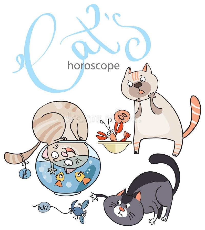 Zodiak podpisuje wewnątrz koty: element woda ilustracja wektor
