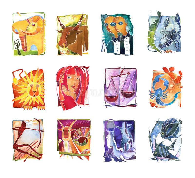 Zodiak podpisuje, 12 znaka zodiaka okrąg ilustracji