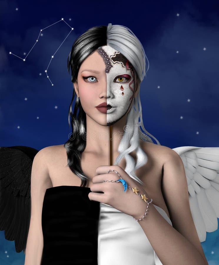 Zodiak serie - gemini ilustracji