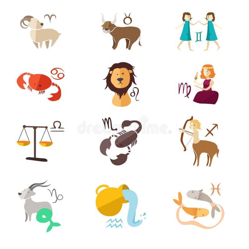 Zodiak szyldowe ikony ilustracji
