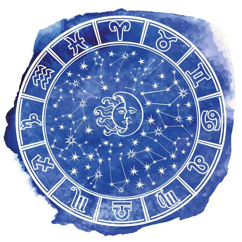 Zodiak undertecknar in horoskopcirkeln blå vattenfärg stock illustrationer