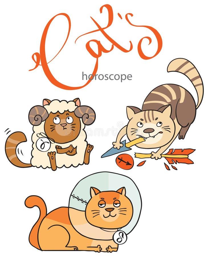 Zodiak undertecknar in katter: beståndsdelen av brand vektor illustrationer