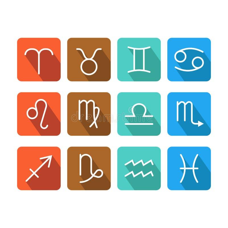 Zodiak undertecknar symboler på färgbakgrund för horoskop, förutsägelser stock illustrationer