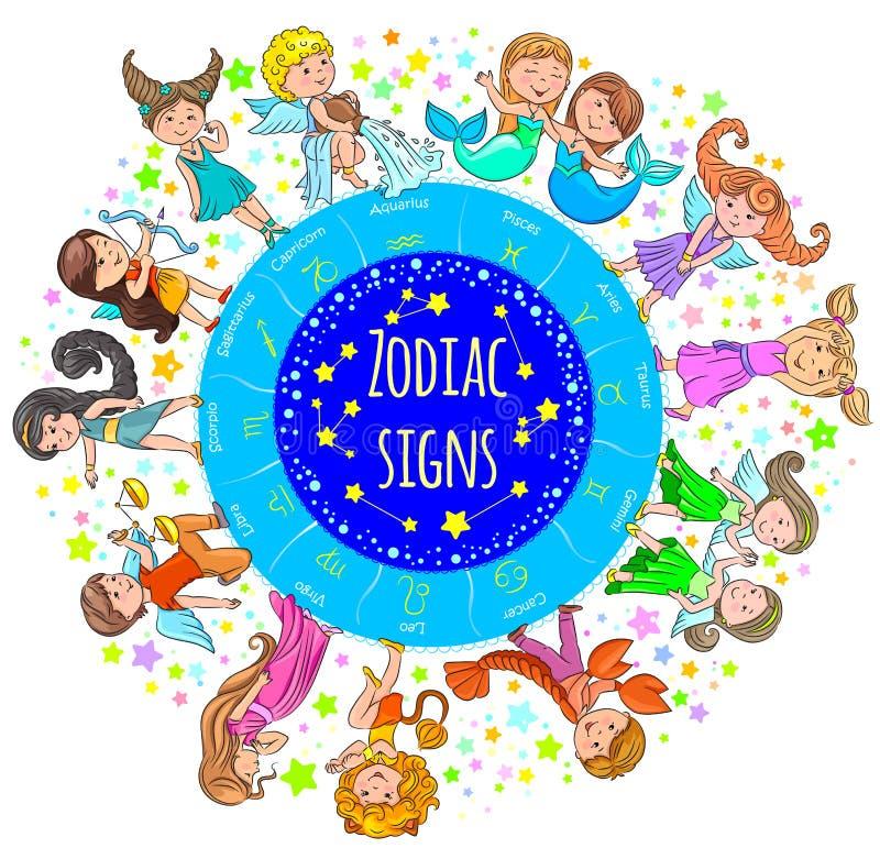 Zodiak undertecknar ungerundabrädet royaltyfri illustrationer