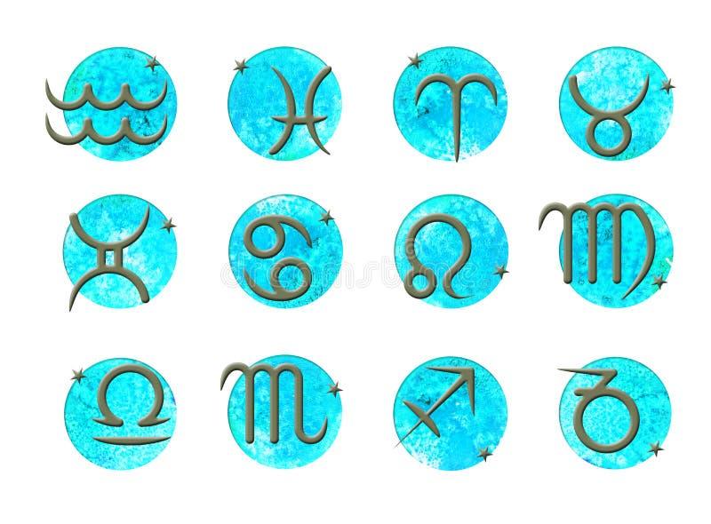 Zodiak?w znaki Set pro?ci uderzenie zodiaka znaki na akwarela wektorze okr??a t?o ilustracji