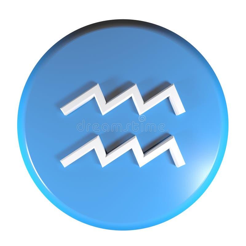 ZODIAKA AQUARIUS ikony okręgu pchnięcia błękitny guzik - 3D renderingu ilustracja royalty ilustracja