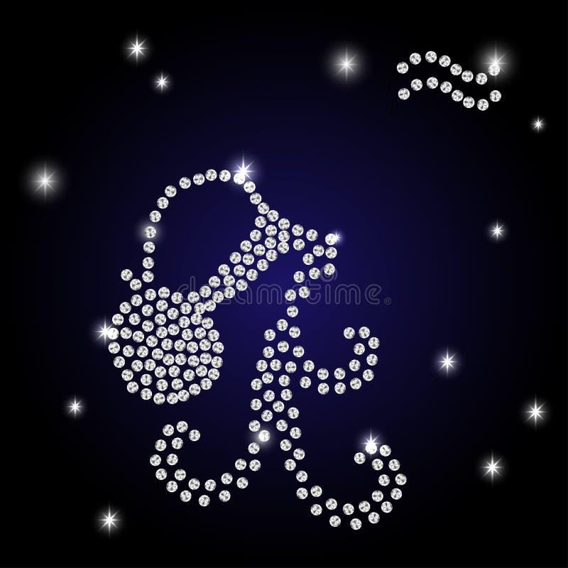 Zodiaka Aquarius jest gwiaździstym niebem royalty ilustracja
