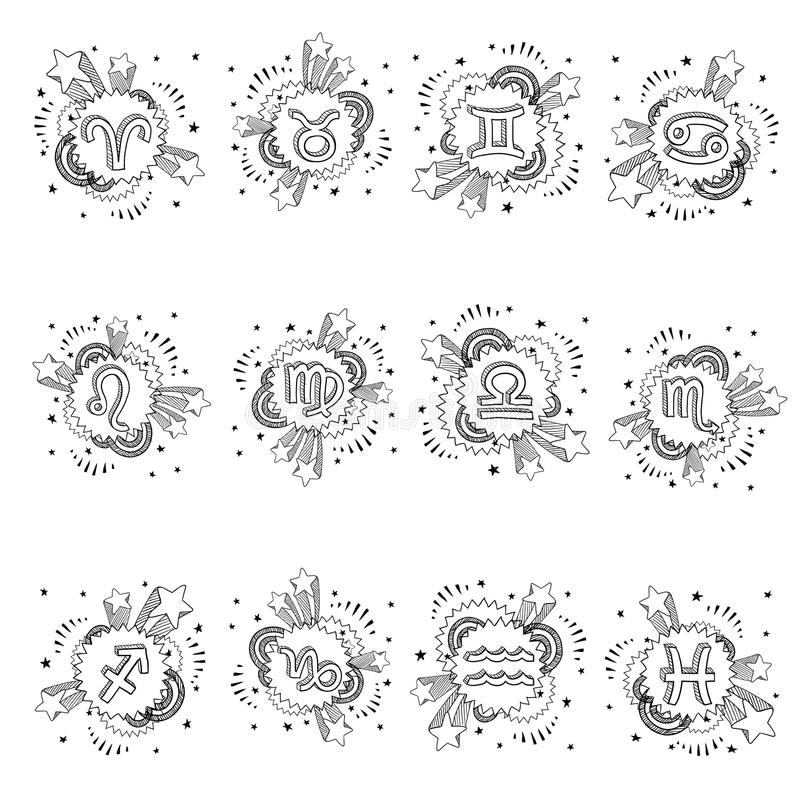Zodiaka astrologii symbolu set ilustracji