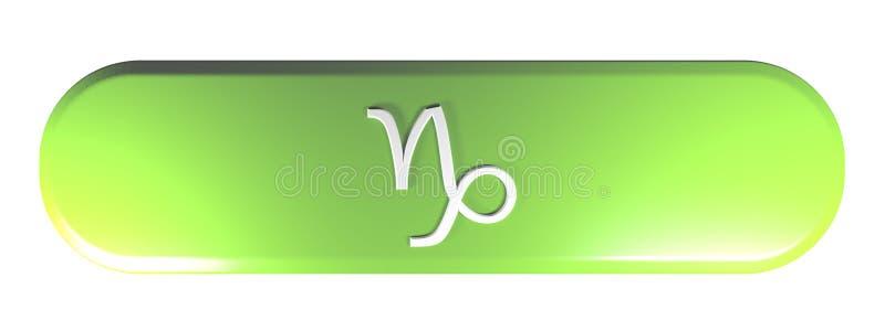 ZODIAKA CAPRICORN ikony zieleń zaokrąglał prostokąta pchnięcia guzika - 3D renderingu ilustracja ilustracji