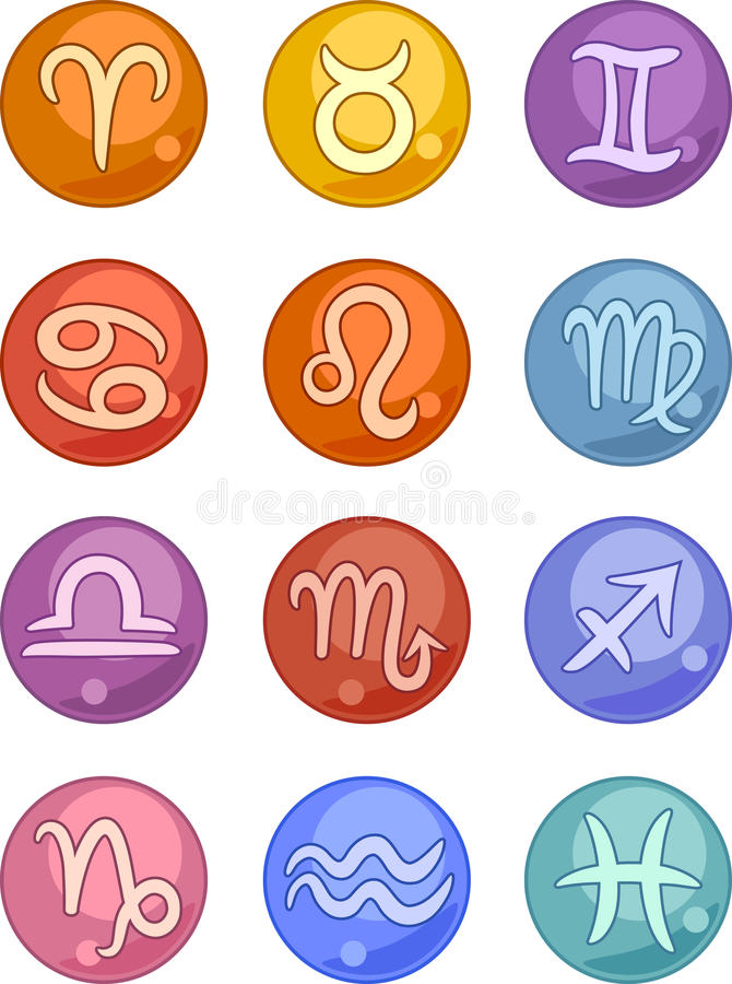 Zodiaka horoskop podpisuje ikony ilustracja wektor