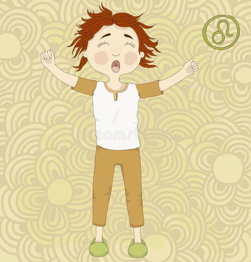 Zodiaka Leo.Cute szyldowy śpiący dzieciak w piżamach royalty ilustracja