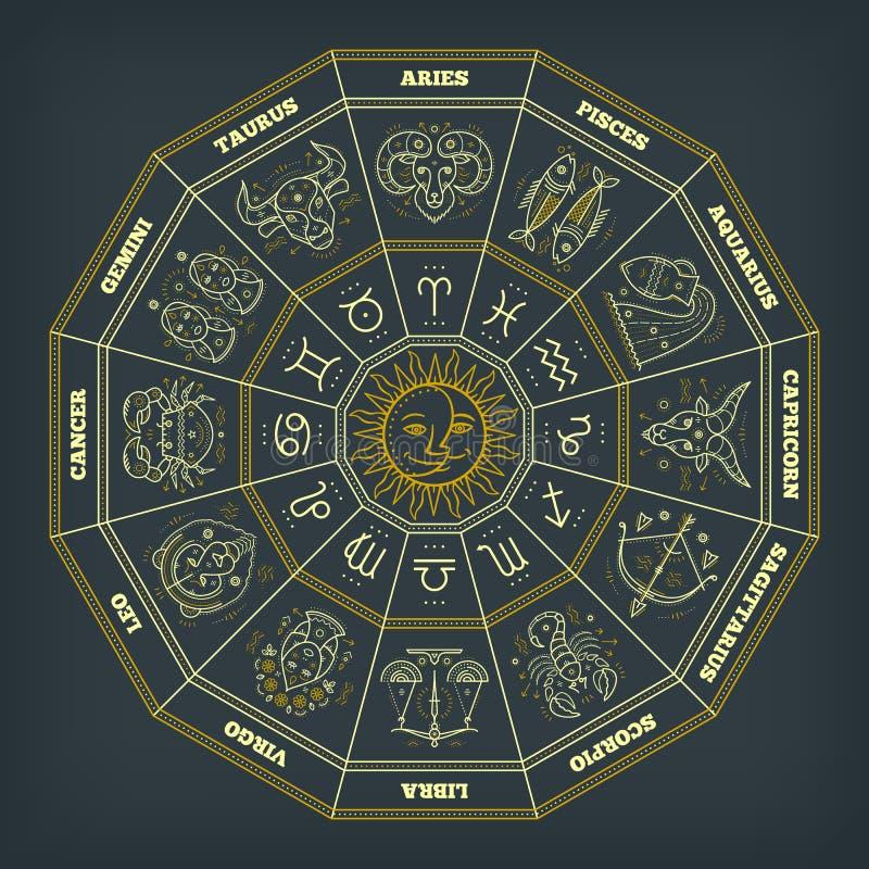 Zodiaka okrąg z horoskopów znakami Cienki kreskowy wektorowy projekt Astrologia symbole i mistyczka znaki ilustracja wektor