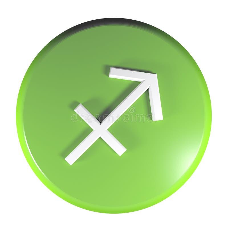 ZODIAKA SAGITTARIUS ikony zieleni okręgu pchnięcia guzik - 3D renderingu ilustracja ilustracji