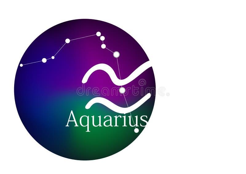 Zodiaka szyldowy Aquarius dla horoskopu, gwiazdozbioru i symbolu w round ramie, royalty ilustracja