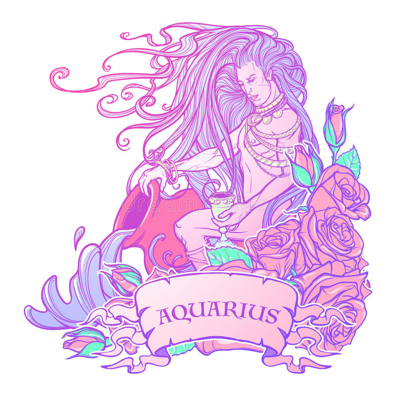 Zodiaka szyldowy Aquarius Piękny młody człowiek z długie włosy mienie ampuły amforą Pastelowa goth paleta royalty ilustracja