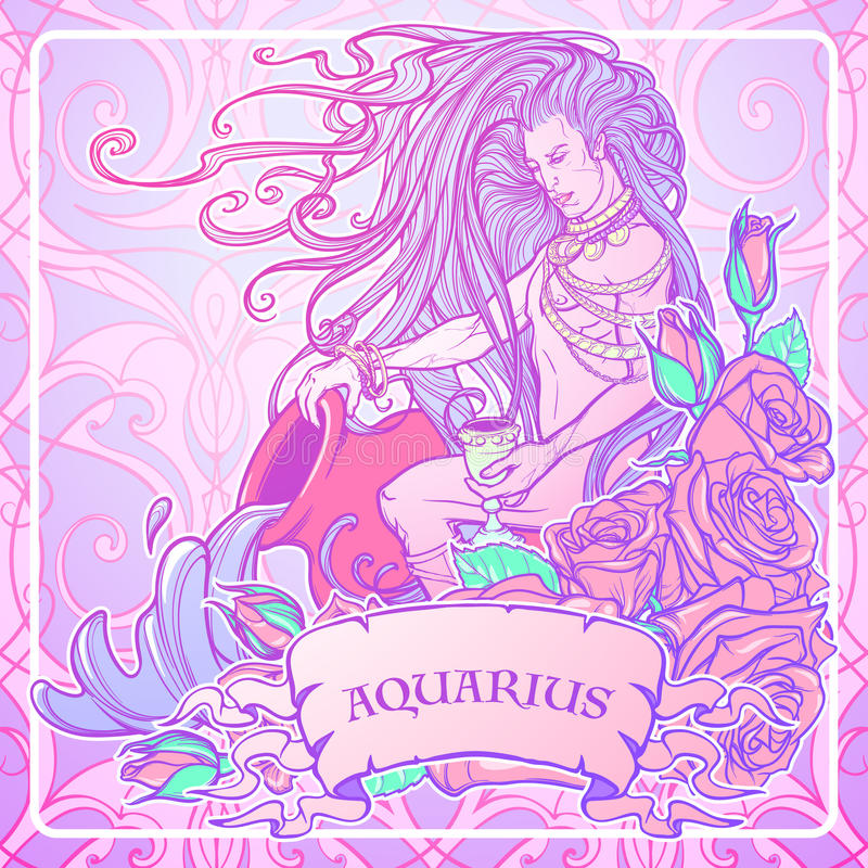 Zodiaka szyldowy Aquarius Piękny młody człowiek z długie włosy mienie ampuły amforą Pastelowa goth paleta ilustracja wektor
