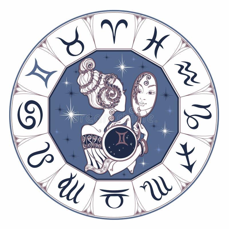 Zodiaka szyldowy gemini piękna dziewczyna horoskop astrologia wektor royalty ilustracja