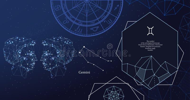 Zodiaka Szyldowy gemini Symbol astrologiczny horoskop Horyzontalny sztandar ilustracja wektor