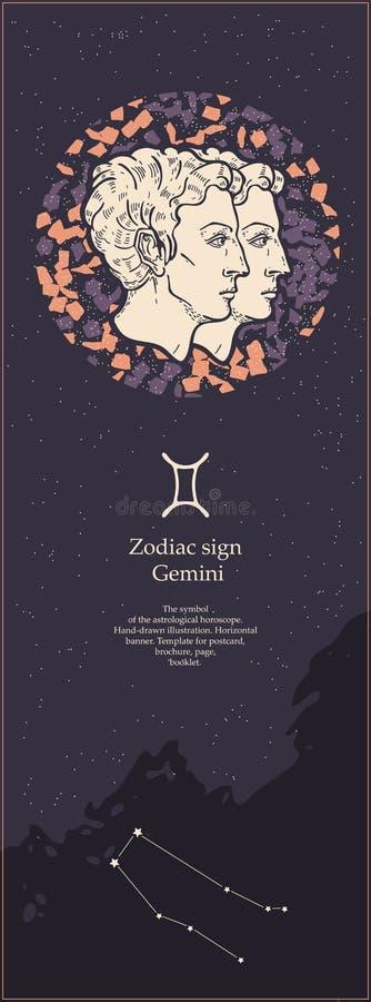 Zodiaka Szyldowy gemini Symbol astrologiczny horoskop patroszonej twarzy r?ki ilustracyjne s kobiety Pionowo sztandar Szablon dla ilustracja wektor