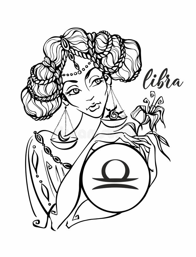 Zodiaka szyldowy Libra jako piękna dziewczyna horoskop astrologia kolorystyka wektor ilustracja wektor