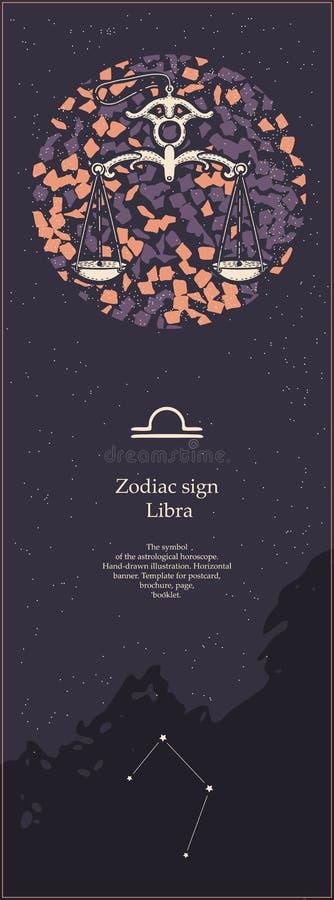 Zodiaka szyldowy libra Symbol astrologiczny horoskop patroszonej twarzy r?ki ilustracyjne s kobiety Pionowo sztandar Szablon dla ilustracja wektor