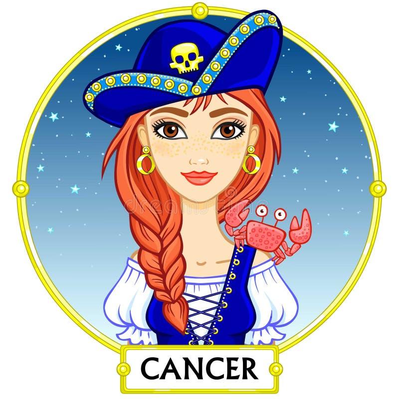 Zodiaka szyldowy nowotwór ilustracja wektor