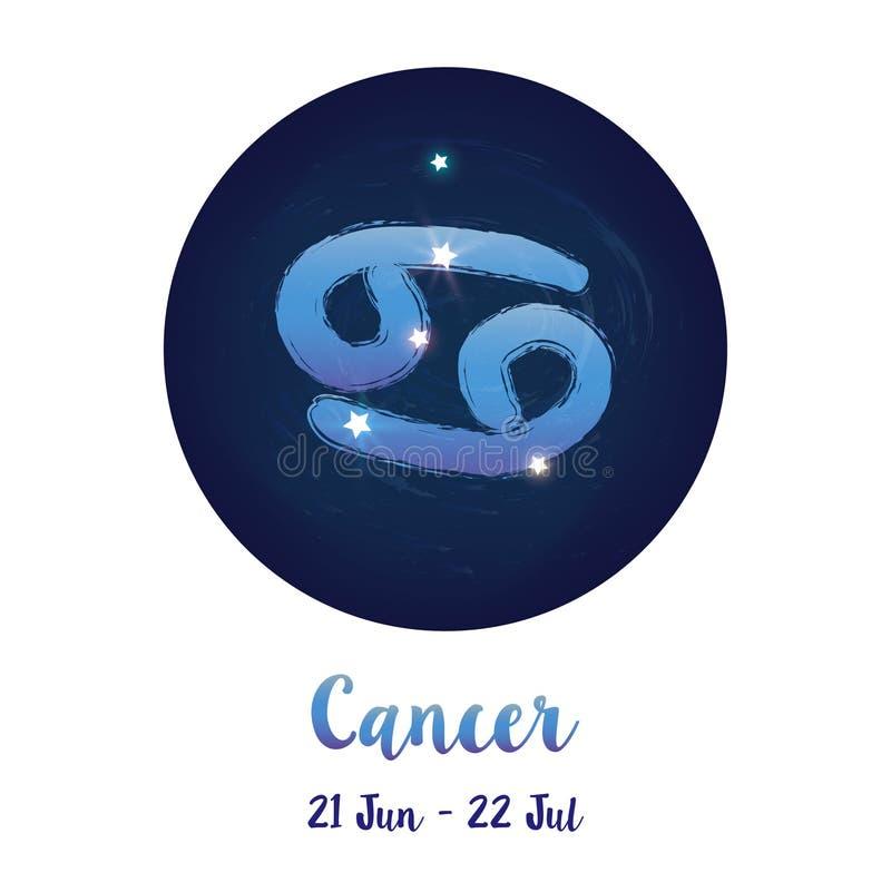 Zodiaka szyldowy nowotwór w pozaziemskiej gwiazdy przestrzeni z nowotworu gwiazdozbioru ikoną Błękitny gwiaździsty nocnego nieba  ilustracja wektor