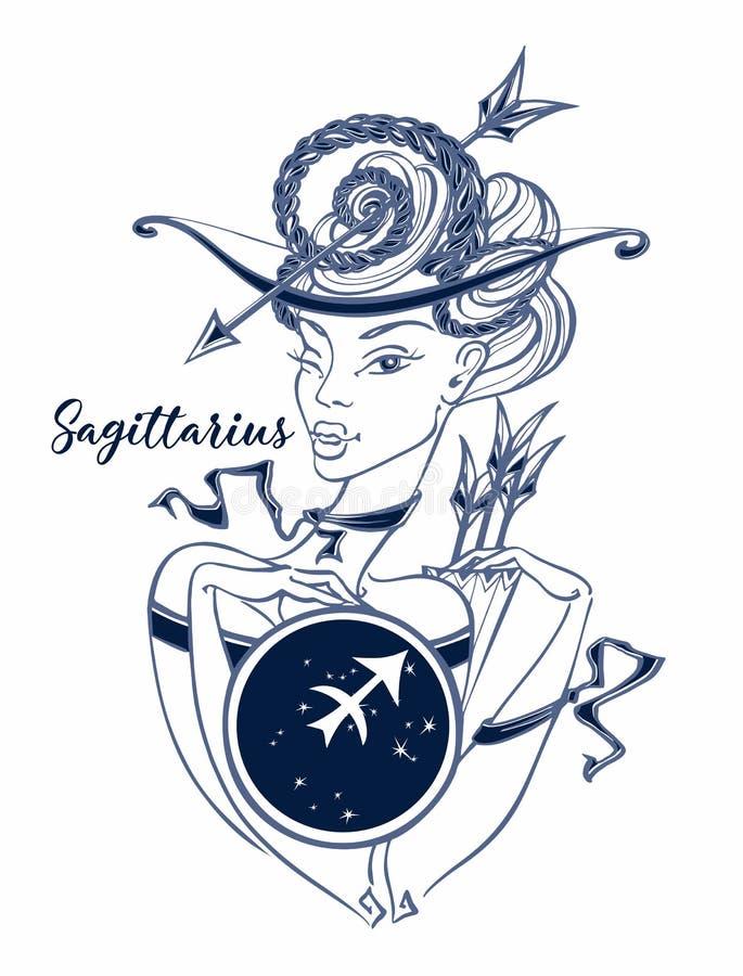 Zodiaka szyldowy Sagittarius piękna dziewczyna horoskop astrologia wektor ilustracji