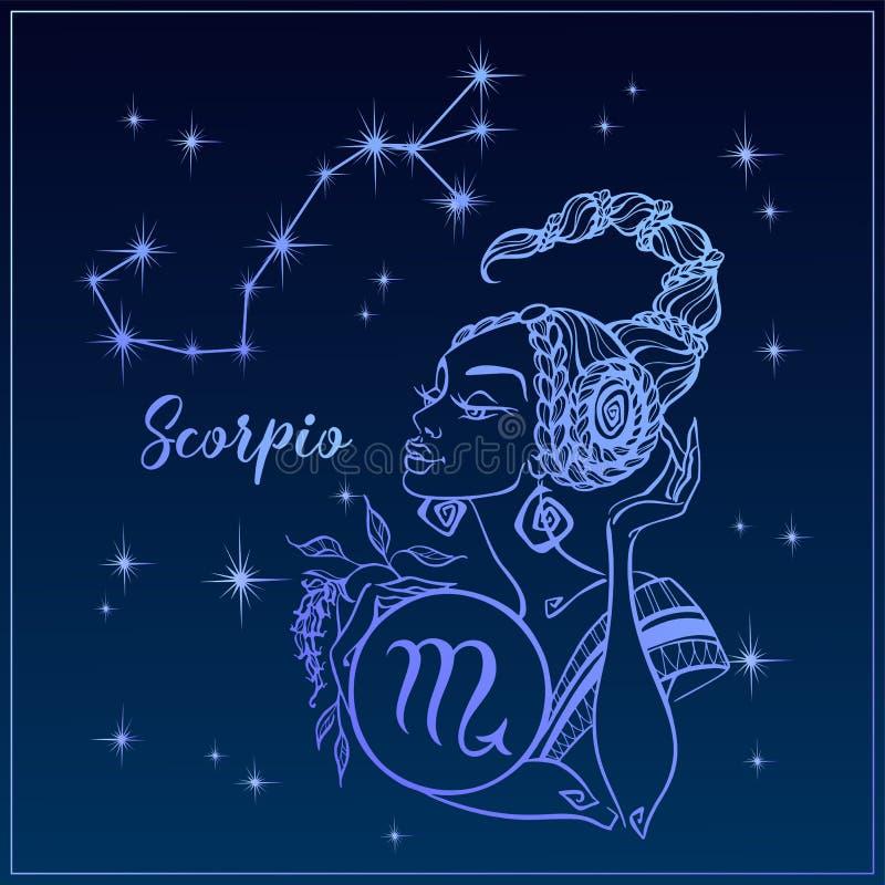 Zodiaka szyldowy Scorpio jako piękna dziewczyna Gwiazdozbiór Scorpio pozyskiwania ilustracyjny błyskawica nocne niebo horoskop as ilustracja wektor