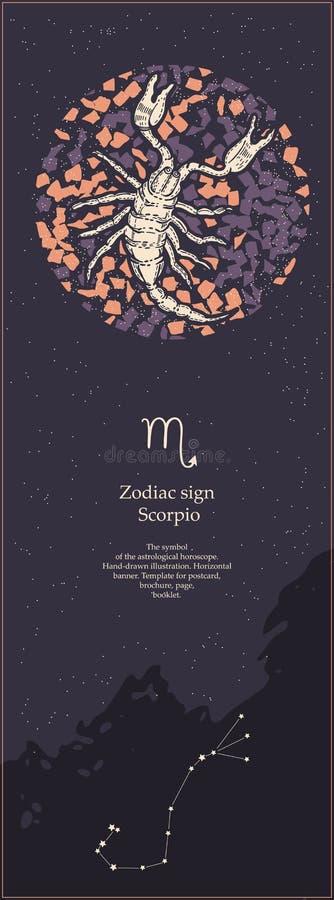 Zodiaka szyldowy Scorpio Symbol astrologiczny horoskop patroszonej twarzy r?ki ilustracyjne s kobiety Pionowo sztandar Szablon dl royalty ilustracja