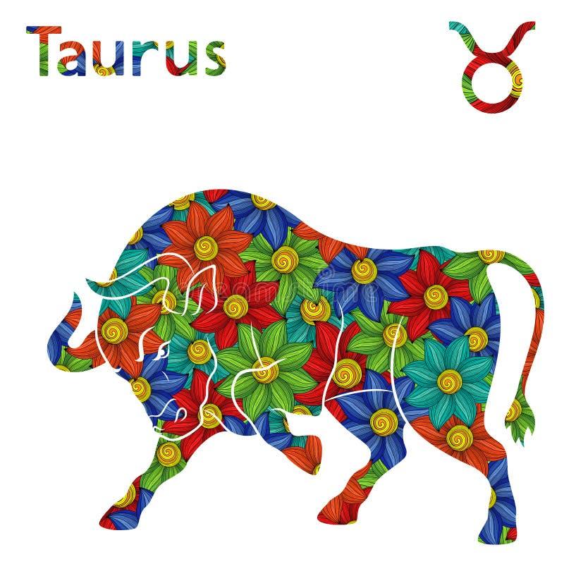 Zodiaka szyldowy Taurus z stylizowanymi kwiatami ilustracja wektor