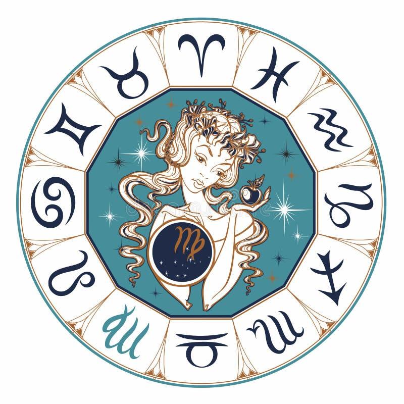 Zodiaka szyldowy Virgo piękna dziewczyna horoskop astrologia wektor ilustracja wektor