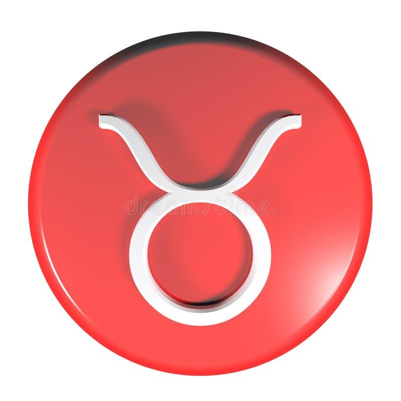 ZODIAKA TAURUS ikony okręgu pchnięcia czerwony guzik - 3D renderingu ilustracja ilustracja wektor