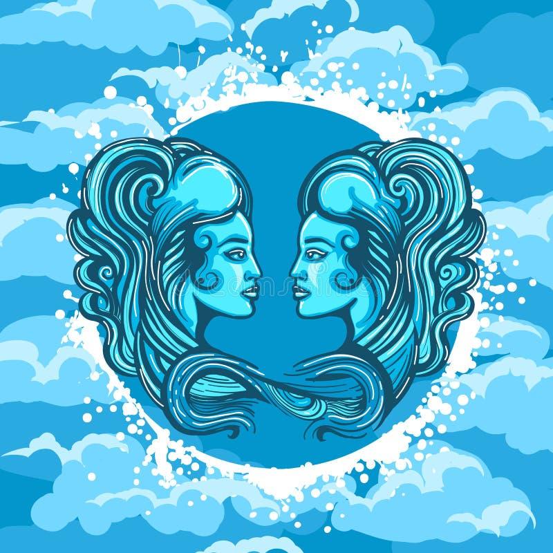 Zodiaka znak gemini w Lotniczym okręgu ilustracja wektor