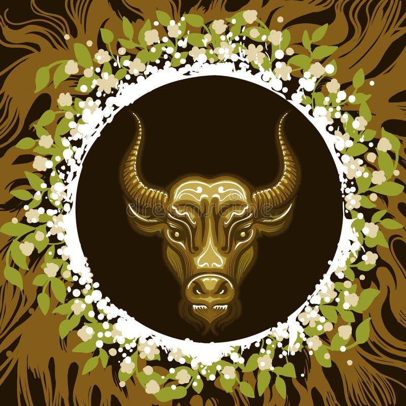 Zodiaka znak Taurus w Ziemskim okręgu royalty ilustracja