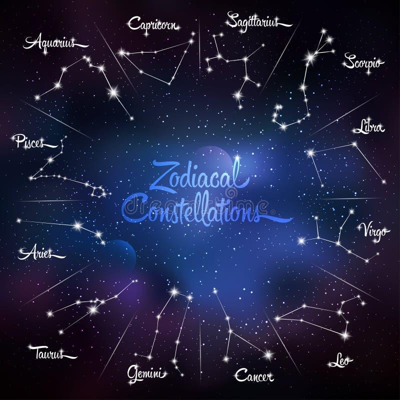 Zodiakalni gwiazdozbiory Galaktyki tło z lśnienie gwiazdami ilustracja wektor
