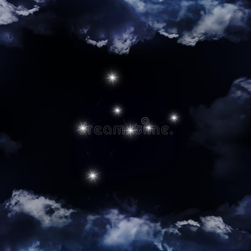 Zodiakalny gwiazdozbioru Virgo Gwiazdozbiór zobaczy royalty ilustracja