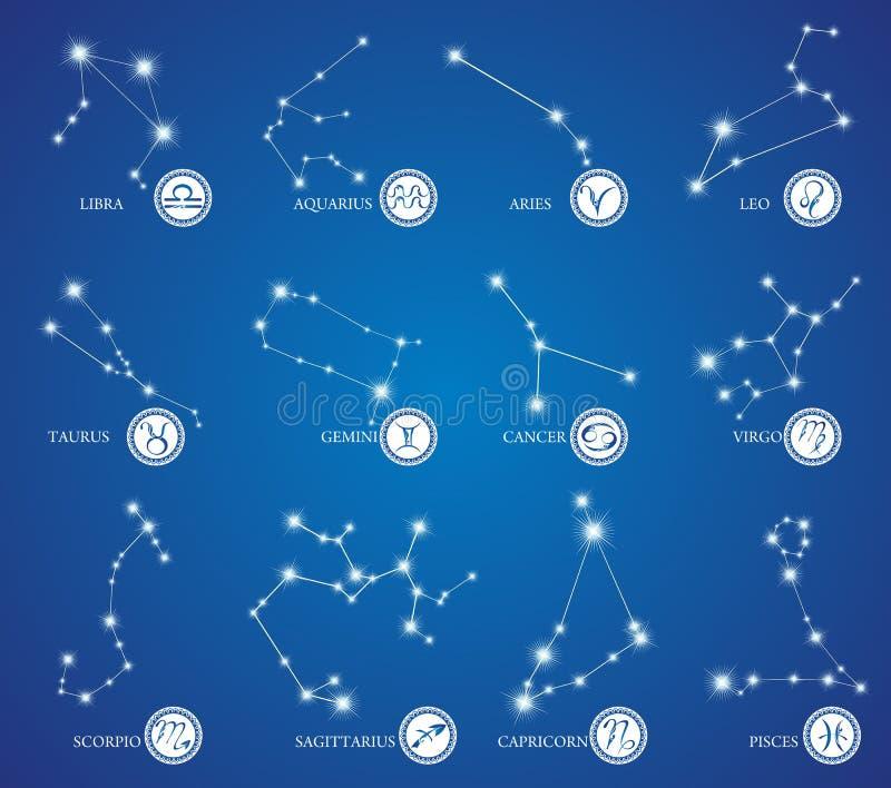 Zodiakdesign stock illustrationer