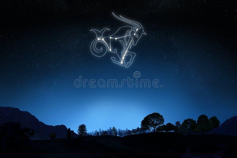 ZodiakStenbocken med en stjärna och en symbolöversikt fotografering för bildbyråer