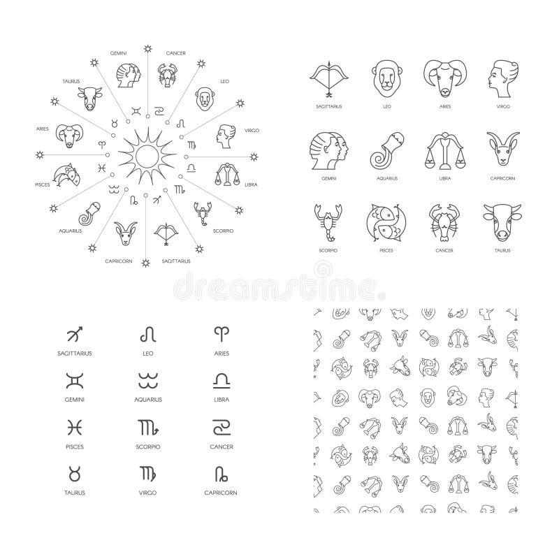 Zodiaksymboler stock illustrationer