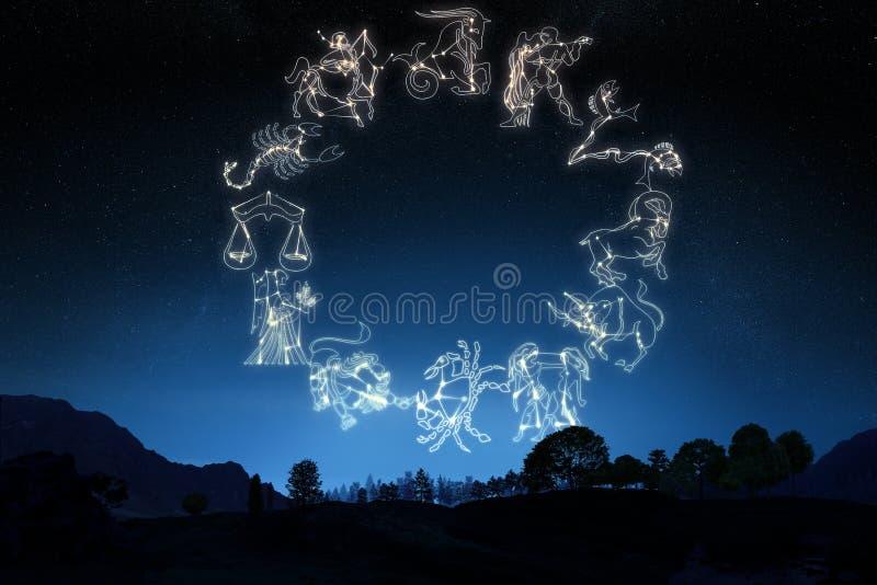Zodiaktecken på en lutninghimmelbakgrund royaltyfri bild