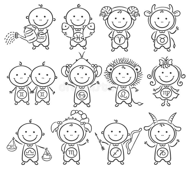 Zodiaktecken som små ungar royaltyfri illustrationer