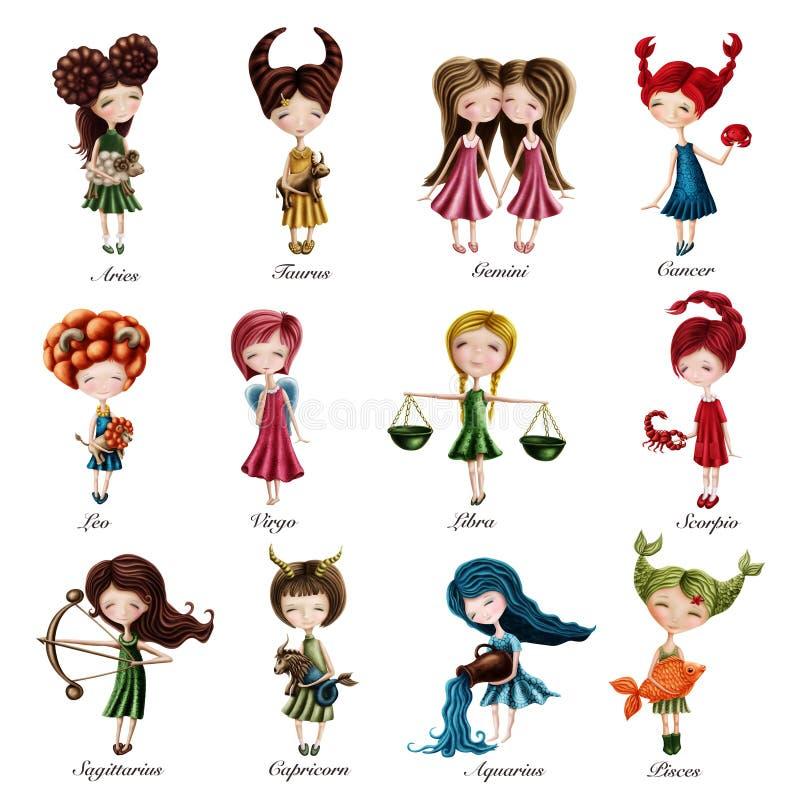 Zodiakteckenflickor stock illustrationer