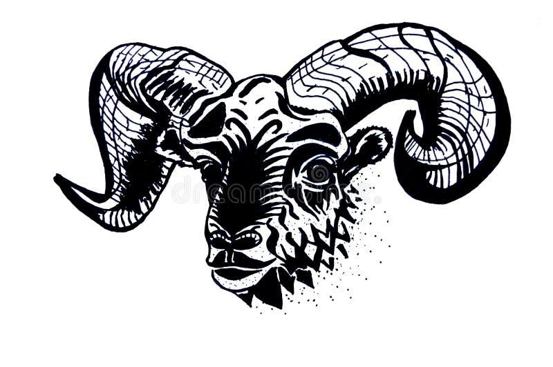 Zodiakteckenillustration - vädur Skissa för tatuering vektor illustrationer