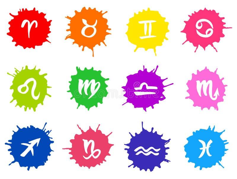 Zodiakteckenuppsättning vektor illustrationer